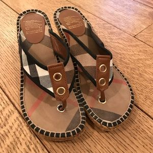 Burberry Canvas Check Wedge Sandal